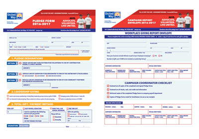 United Way Pledge Campaign Cards